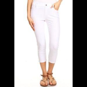 Pants - Women's Jeggings Pants Capri Stretchy Skinny White